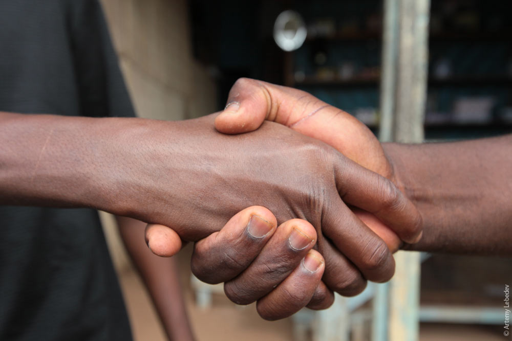 Liberians have a special Liberian handshake