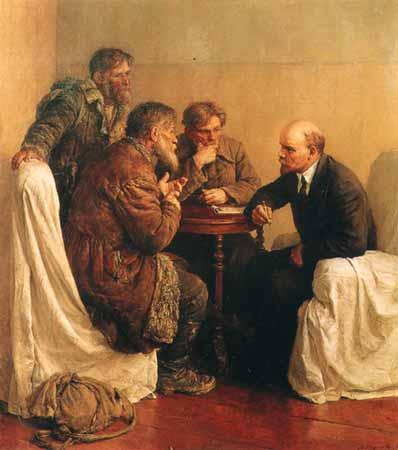 Petantoj ĉe Lenin. Olepentraĵo de Serov, 1950.